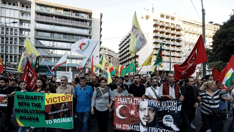 Συγκέντρωση Κούρδων στο κέντρο της Αθήνας για την τουρκική επιχείρηση στη Βόρεια Συρία